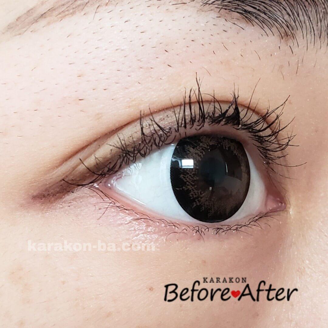 Flower Eyes(フラワーアイズ)ミモザブラウンのカラコン装着画像(別の角度から)