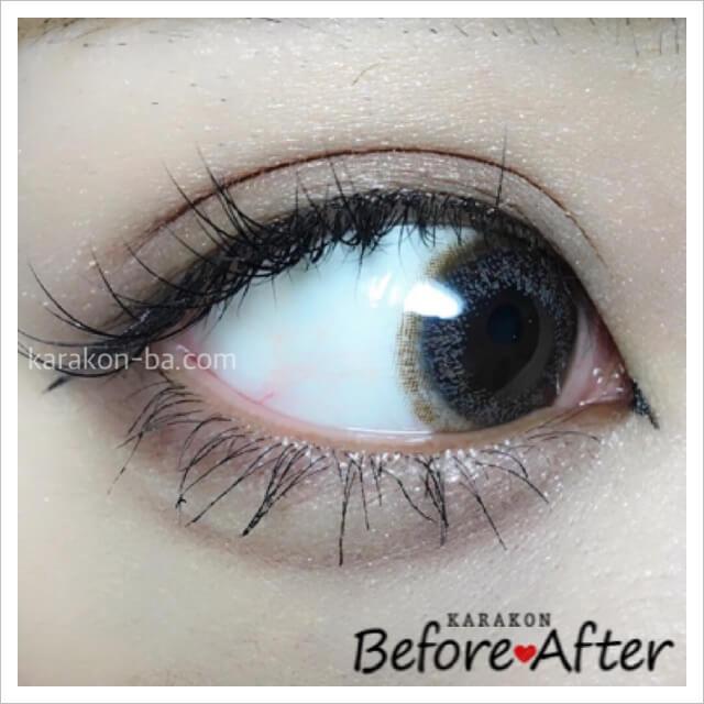 eyelist(アイリスト)ヌードのカラコン装着画像(別の角度から)