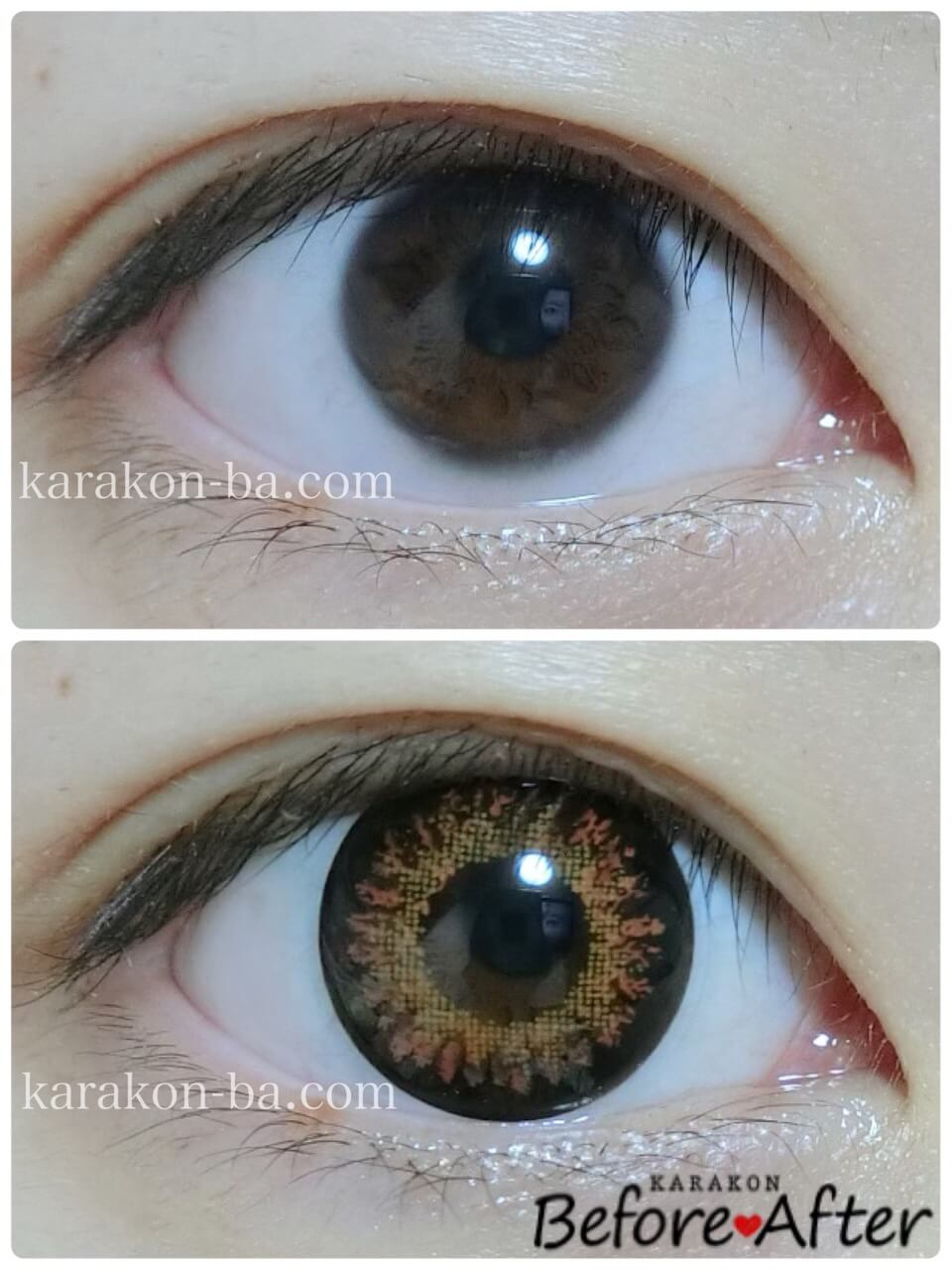 VICTORIA GARDEN(ビクトリアガーデン)チョコレートのカラコン装着画像/裸眼と比較レポ