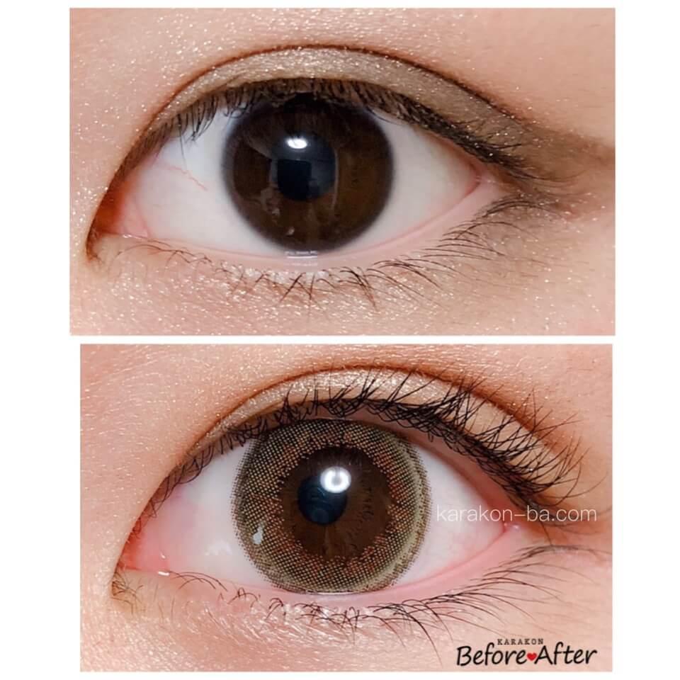 Select FAIRY(セレクトフェアリー)サニーブラウンのカラコン装着画像/裸眼と比較レポ
