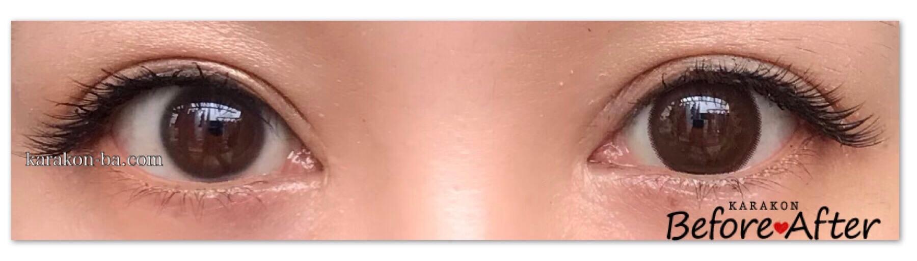 loveil(ラヴェール)クチュールブラウンのカラコン装着画像/両目で比較レポ