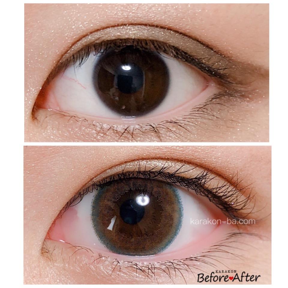 Select FAIRY(セレクトフェアリー)シトラスブラウンのカラコン装着画像/裸眼と比較レポ