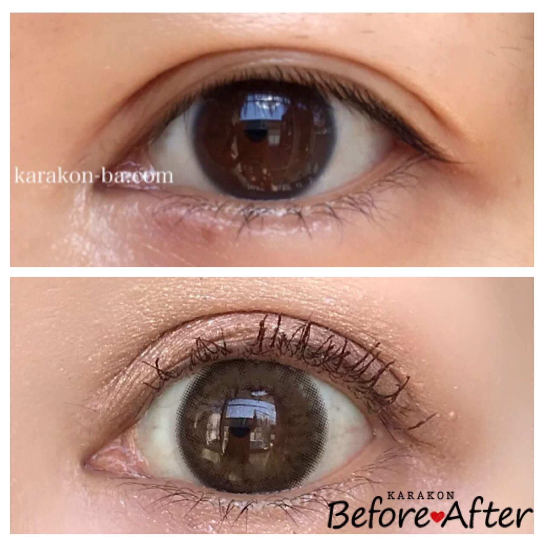 Diya 1day(ダイヤワンデー)ディープブラウンのカラコン装着画像/裸眼と比較レポ