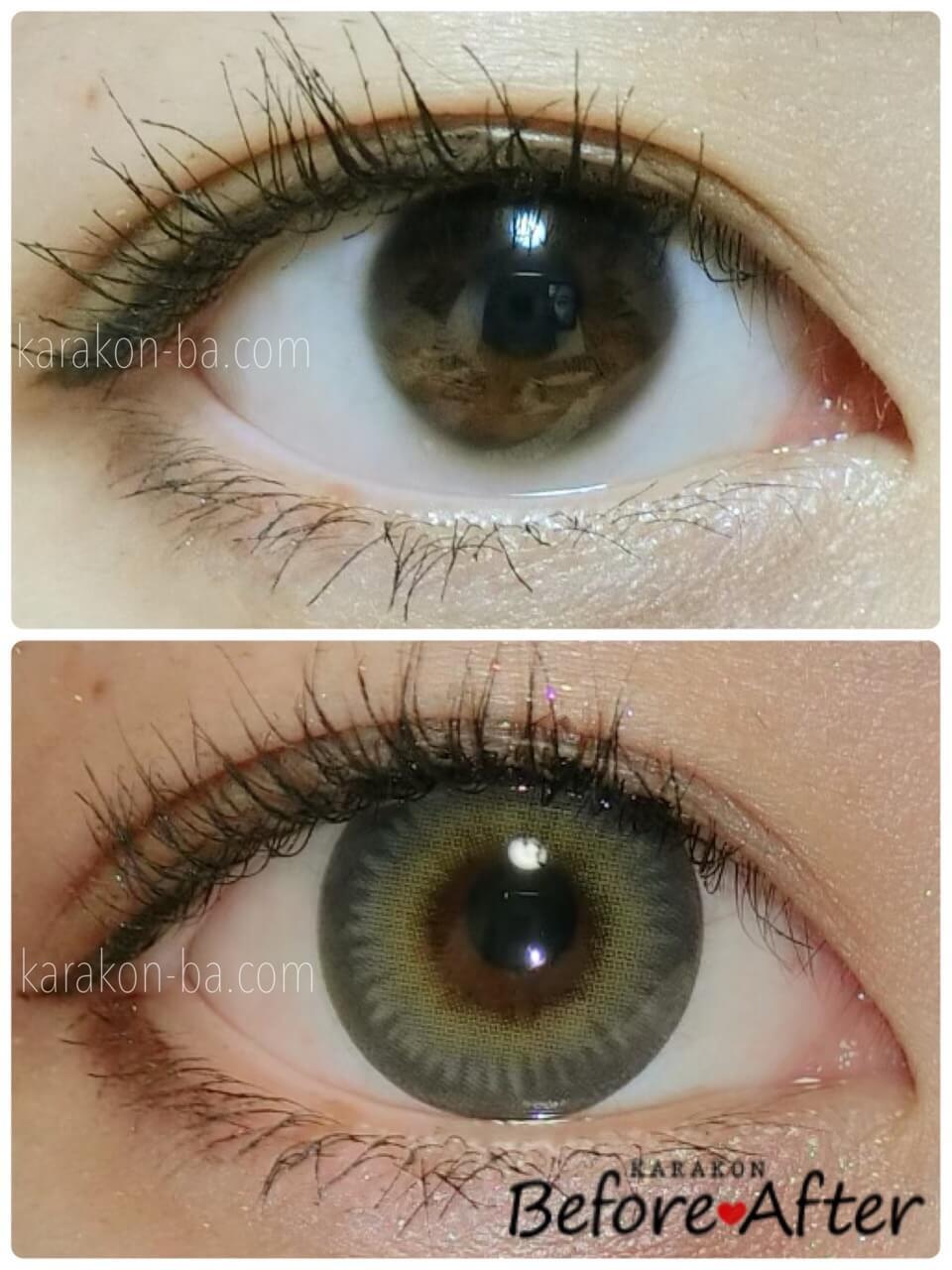 ZERU(ゼル)ハーフグレーのカラコン装着画像/裸眼と比較レポ
