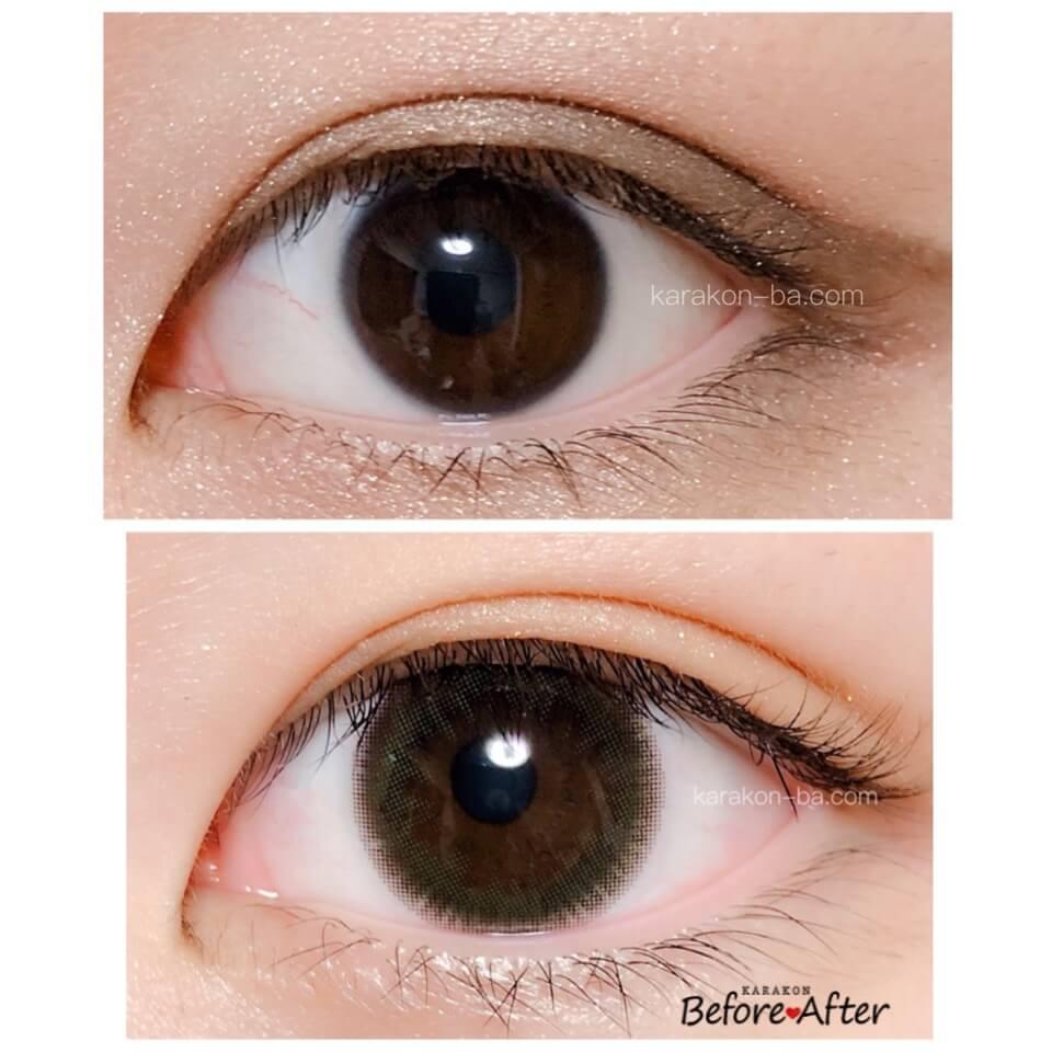 eve(イブ)オリーブブラウンのカラコン装着画像/裸眼と比較レポ