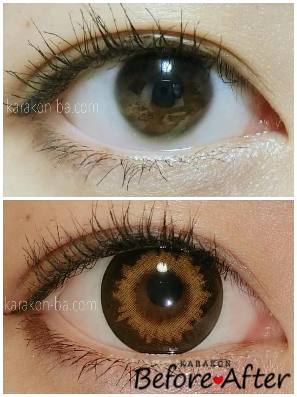 ZERU(ゼル)キャラメルのカラコン装着画像/裸眼と比較レポ