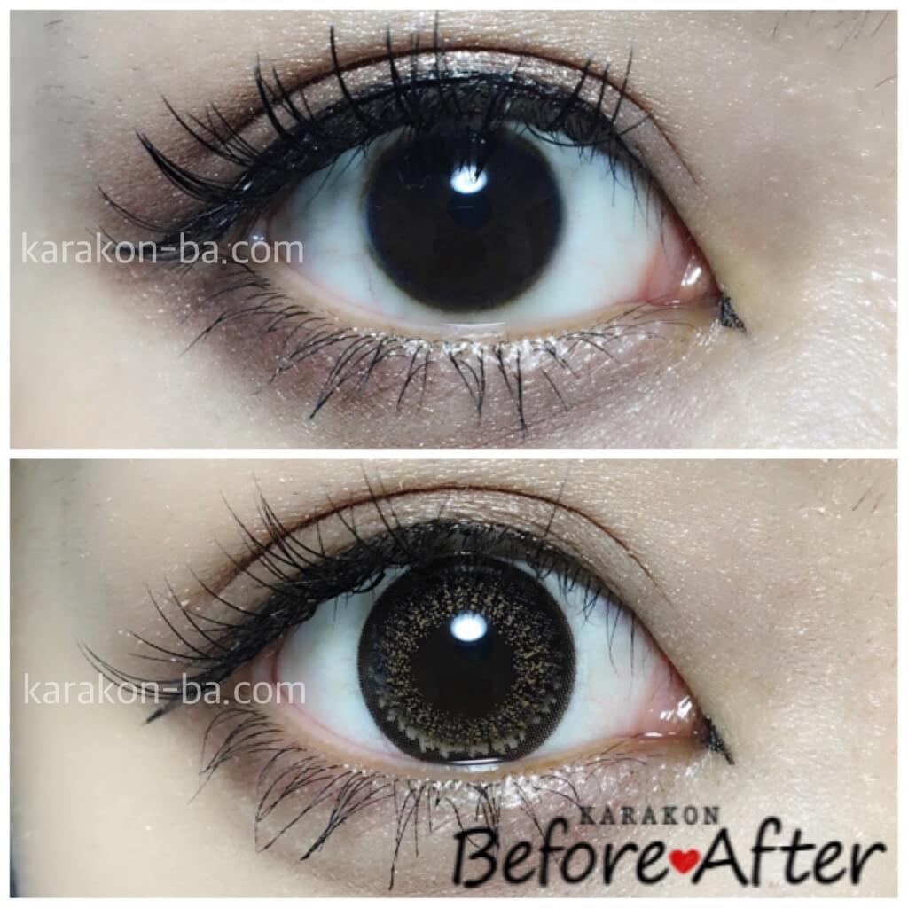 eyelist(アイリスト)リッチのカラコン装着画像/裸眼と比較レポ