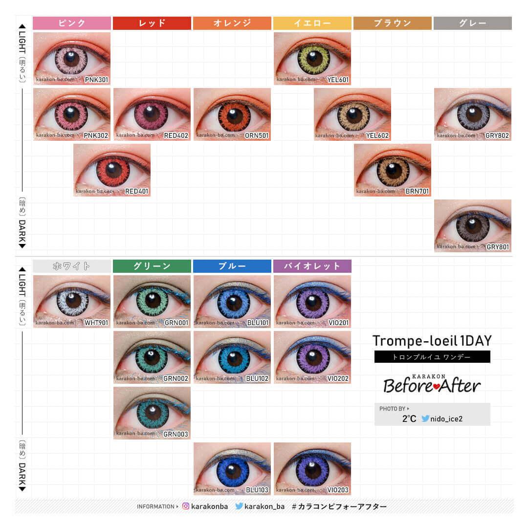 全20色のカラーチャートのカラコン装着画像