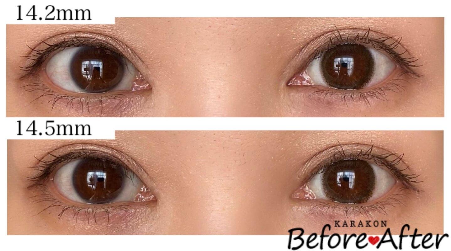 ヌーディーブラウン/ヌーディーブラウンプラスのカラコン装着画像/裸眼と比較