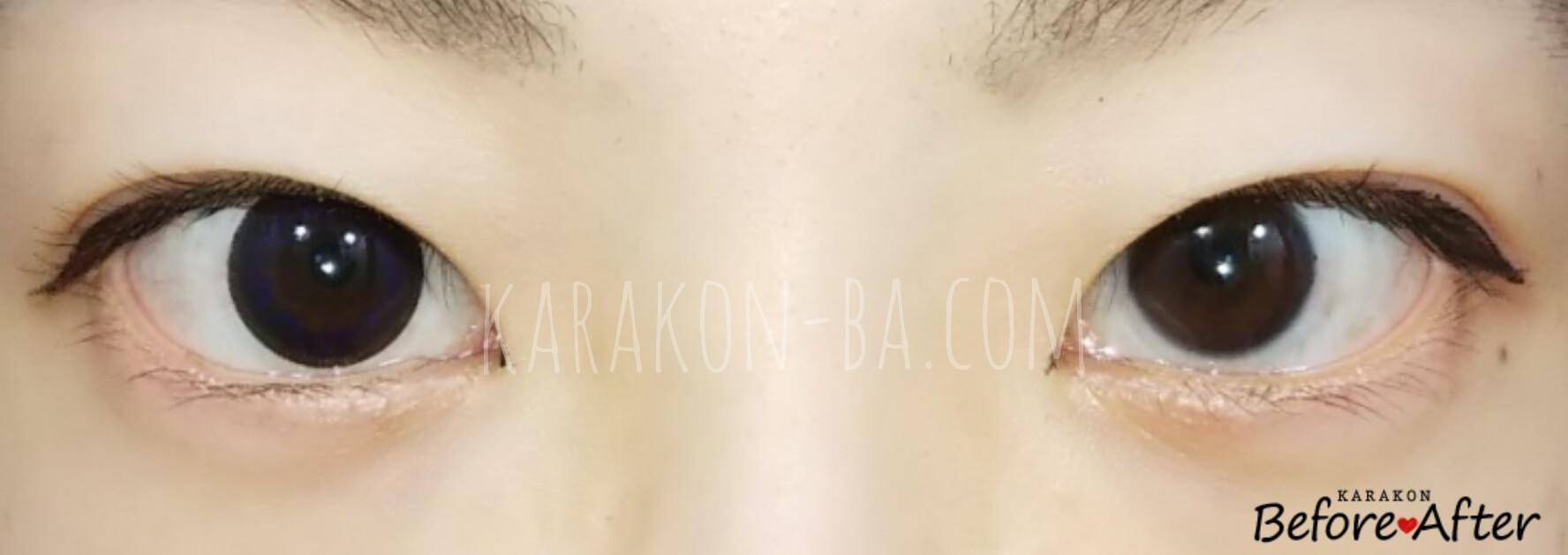 リッチブラックのカラコン装着画像/裸眼と比較