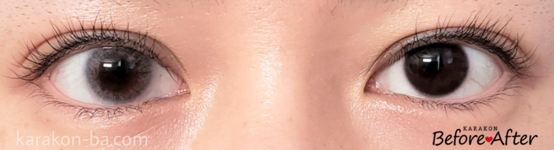 メルトグレージュのカラコン装着画像/裸眼と比較