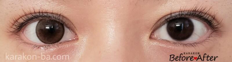 スプレイブラウンのカラコン装着画像/裸眼と比較