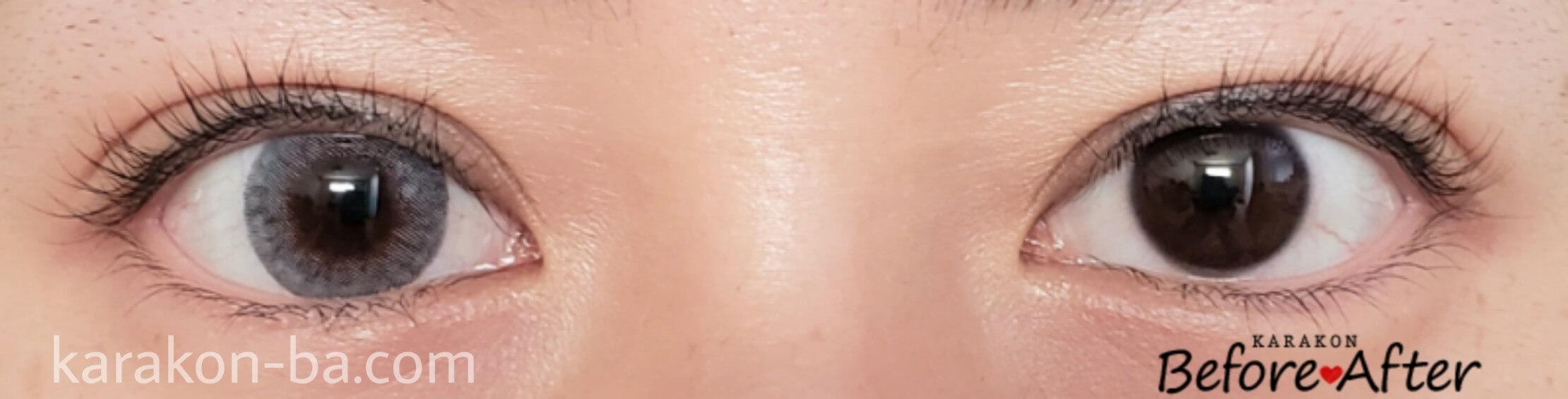 アイビーアッシュのカラコン装着画像/裸眼と比較