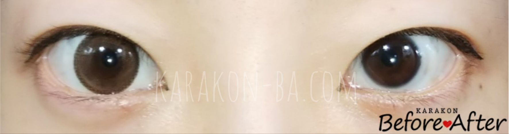 【NEW】クリアキャメルのカラコン装着画像/裸眼と比較