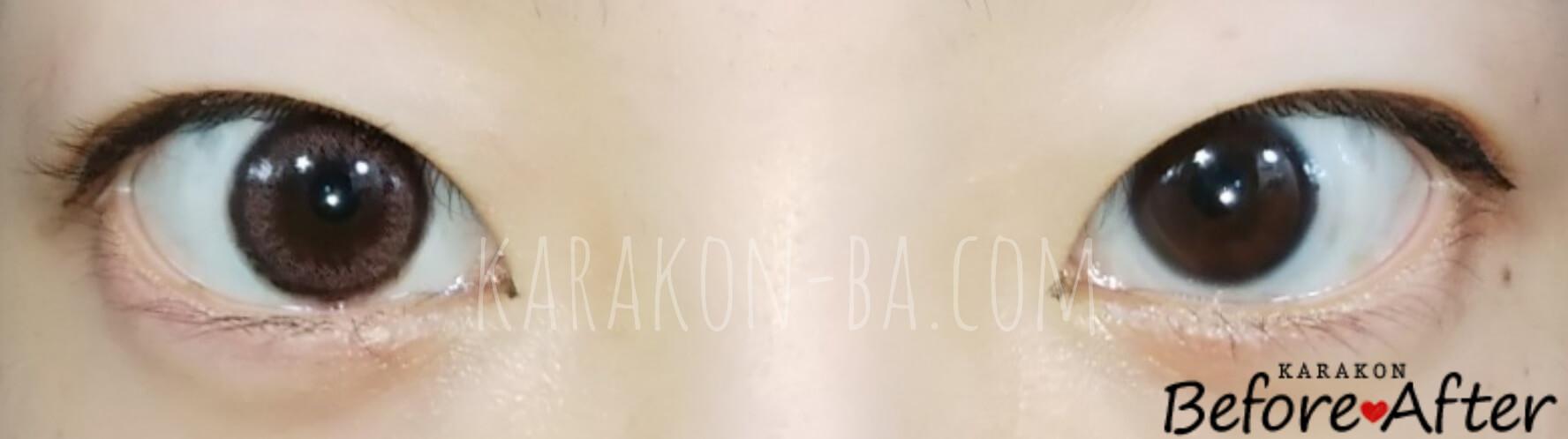 【NEW】スムースコーラルのカラコン装着画像/裸眼と比較