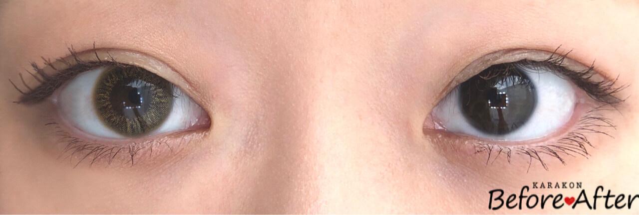 フォクシーウィンクのカラコン装着画像/裸眼と比較