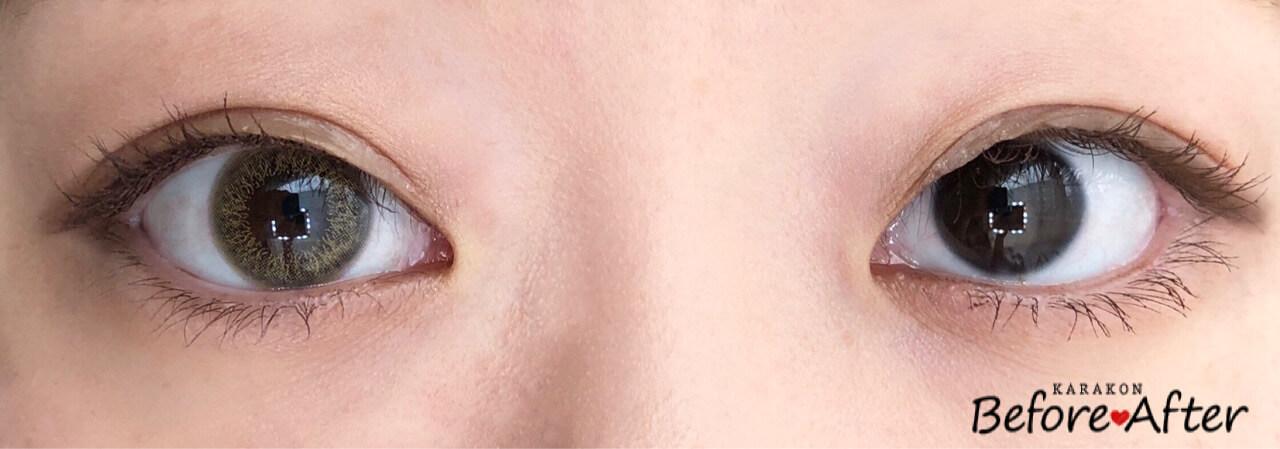 サテンクリームのカラコン装着画像/裸眼と比較