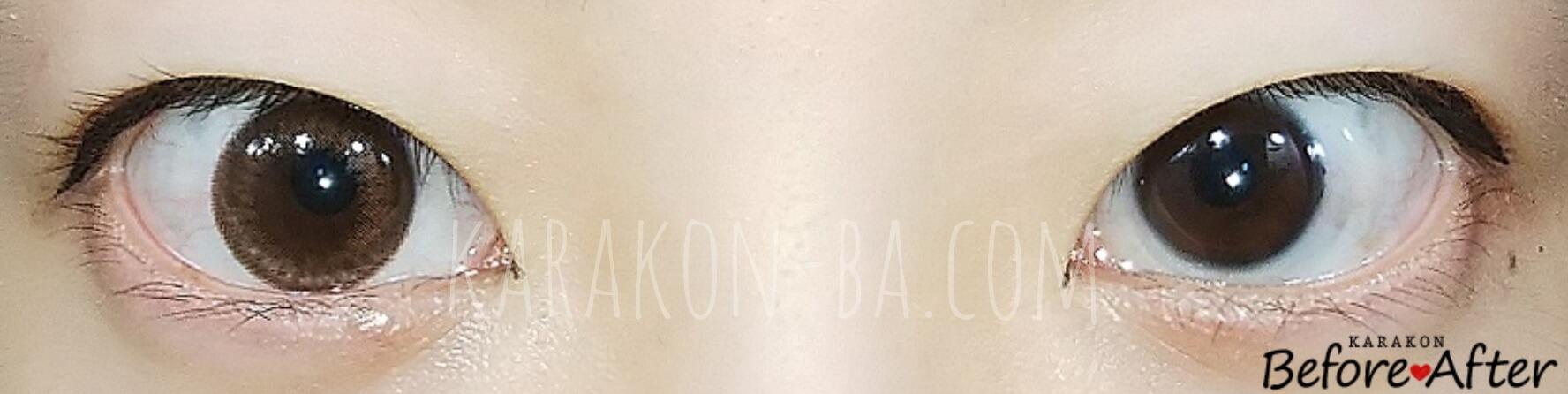 エトエブラウンリングのカラコン装着画像/裸眼と比較