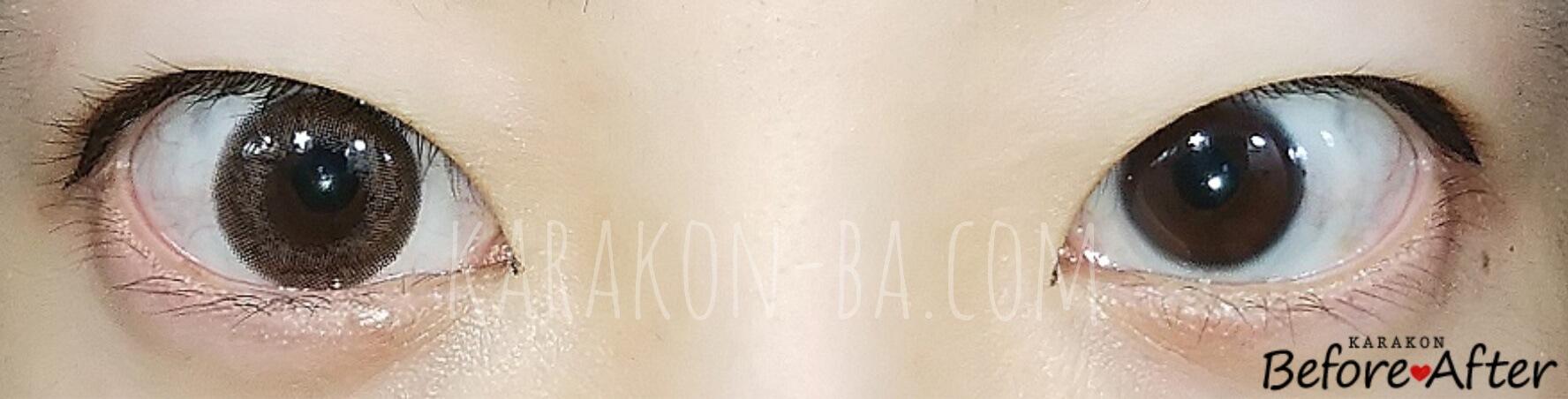 エトエナチュラルリッチのカラコン装着画像/裸眼と比較