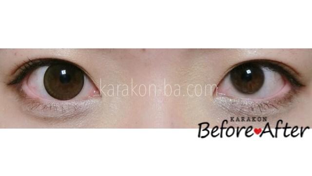 【NEW】ドレスブラウンのカラコン装着画像/裸眼と比較