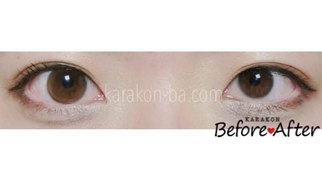 【NEW】ヌードブラウンのカラコン装着画像/裸眼と比較