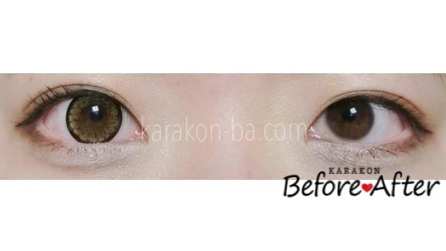 デイジーブラウン (14.8mm)のカラコン装着画像/裸眼と比較