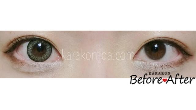 【NEW】グラマラスグレーのカラコン装着画像/裸眼と比較