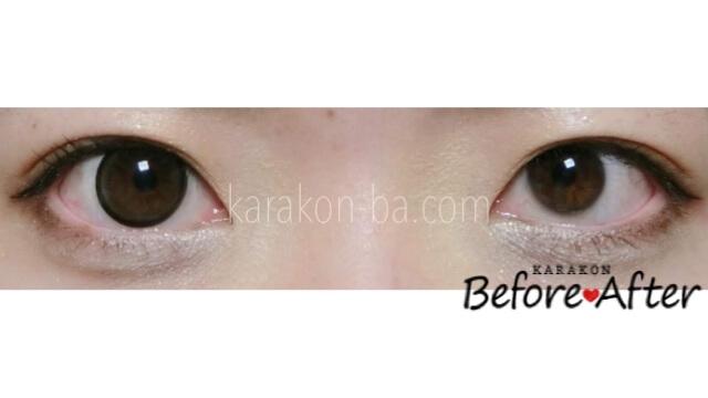 【NEW】ヴィーナスブラウンのカラコン装着画像/裸眼と比較