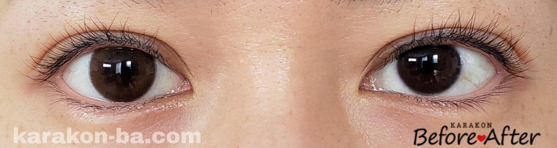 チアリーヌードのカラコン装着画像/裸眼と比較