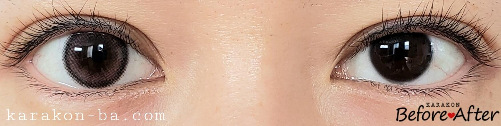 サクララブのカラコン装着画像/裸眼と比較