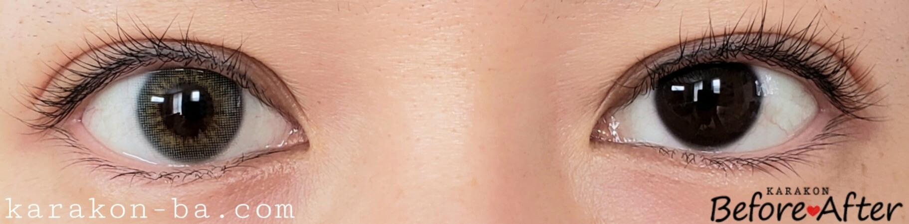 ミルキーグレーのカラコン装着画像/裸眼と比較