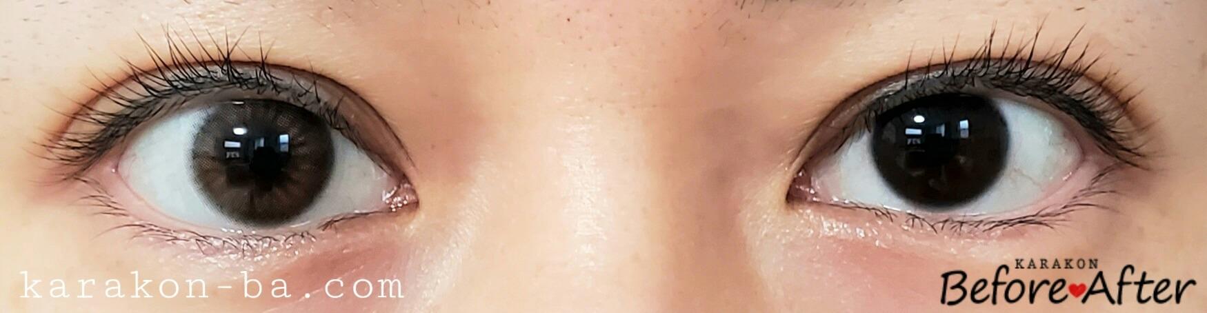 シュガーブラウンのカラコン装着画像/裸眼と比較