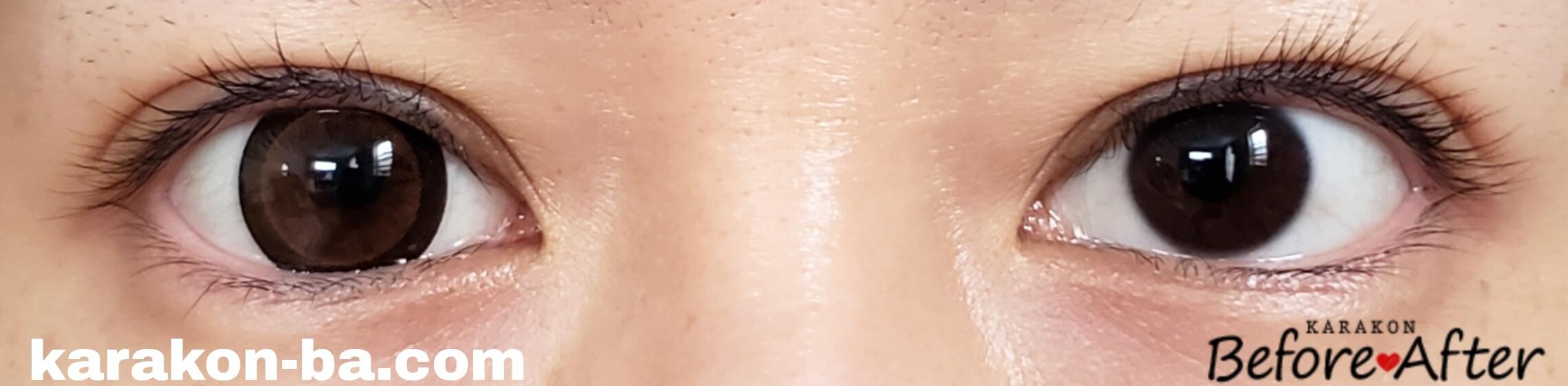 No.3ブラウンのカラコン装着画像/裸眼と比較
