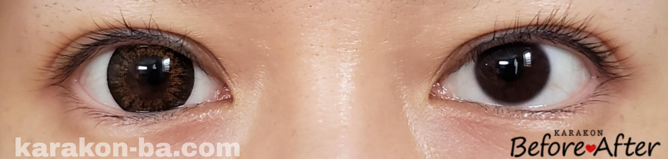No.6ブラウンのカラコン装着画像/裸眼と比較
