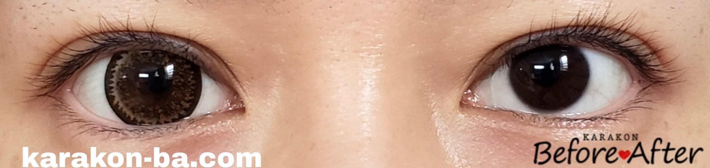 No.7ブラウンのカラコン装着画像/裸眼と比較