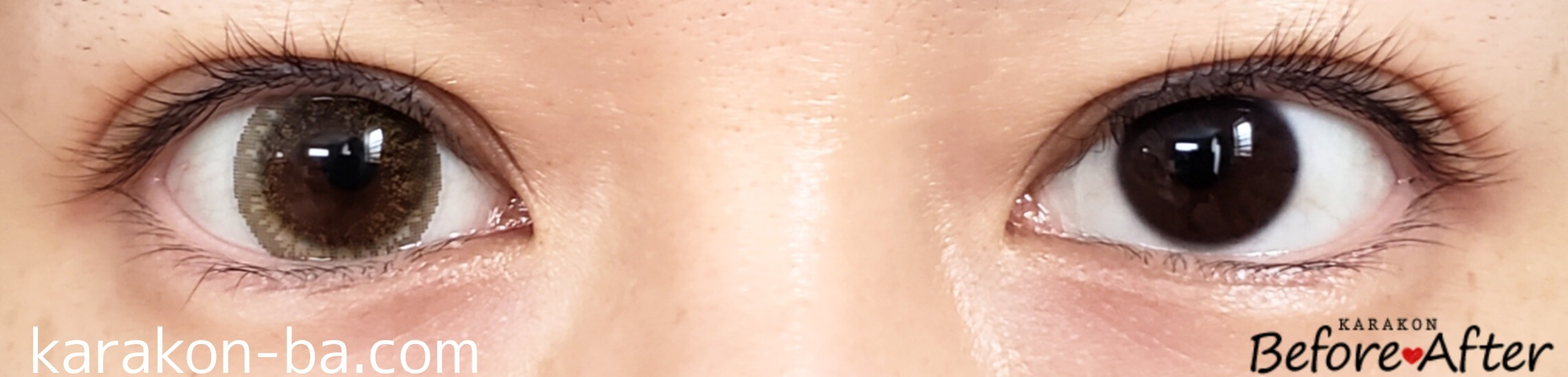 No.14ヘーゼルのカラコン装着画像/裸眼と比較