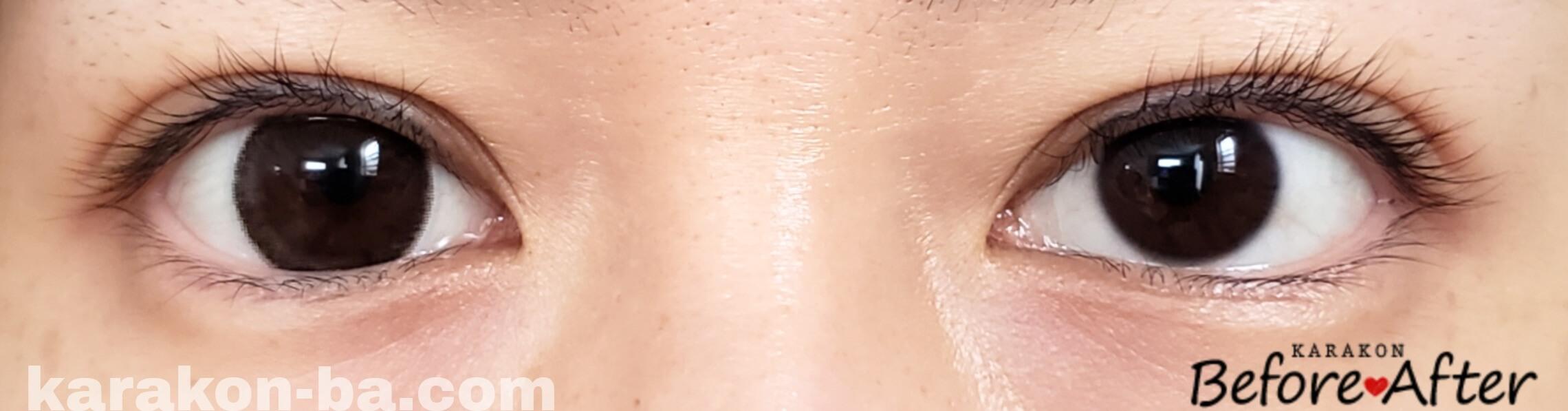 ダークモカのカラコン装着画像/裸眼と比較