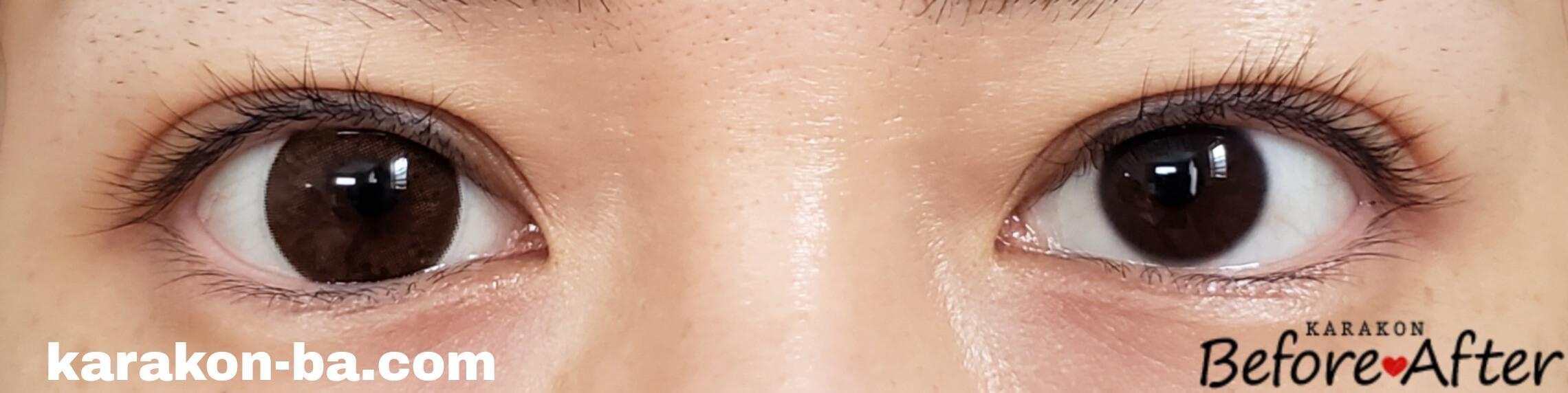 セピアのカラコン装着画像/裸眼と比較