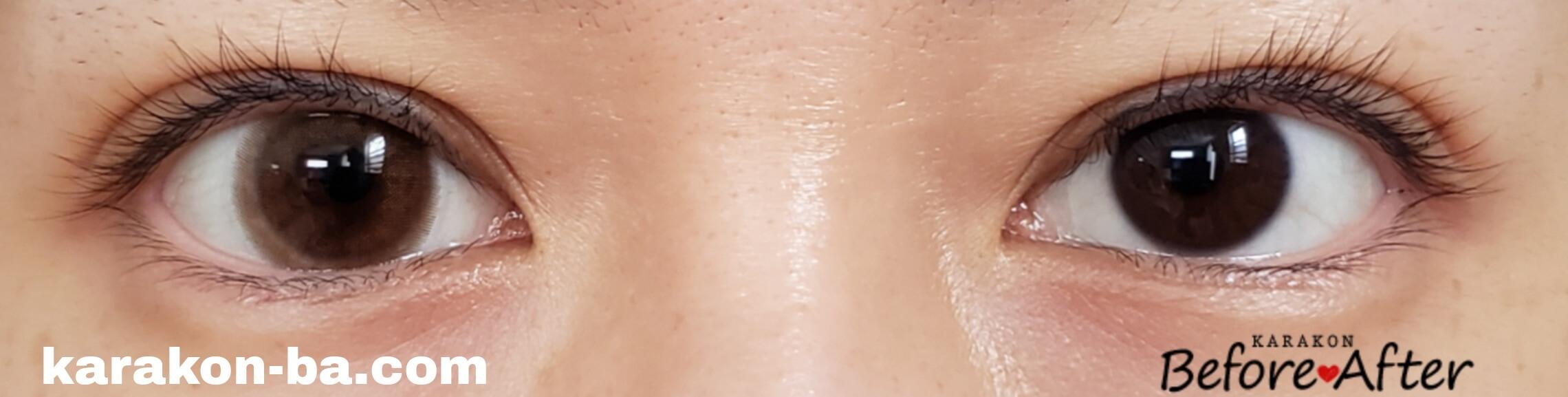 ピンクベージュのカラコン装着画像/裸眼と比較