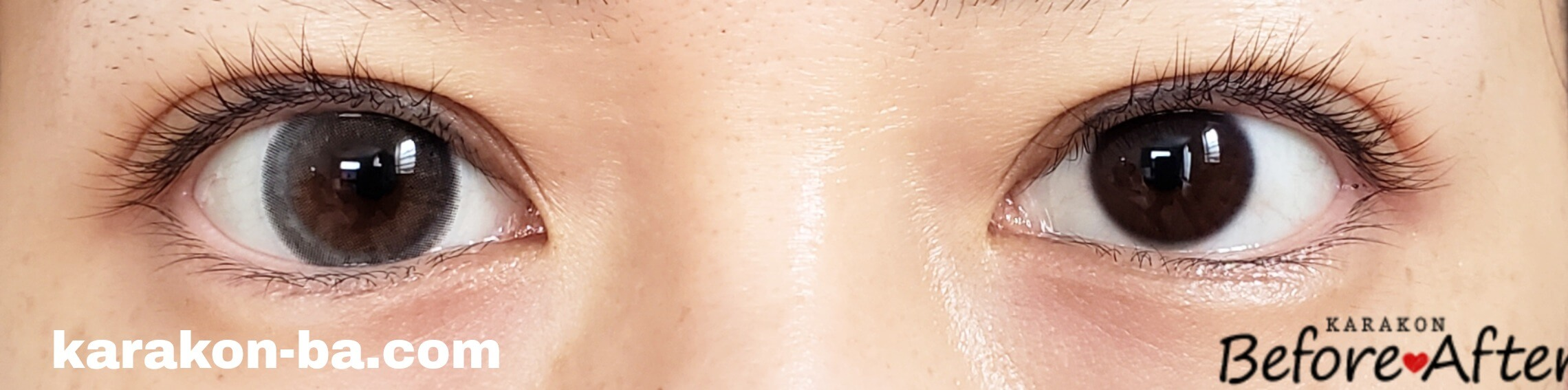 クリアグレーのカラコン装着画像/裸眼と比較
