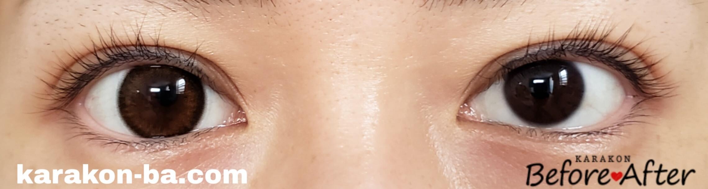 シマーブラウンのカラコン装着画像/裸眼と比較