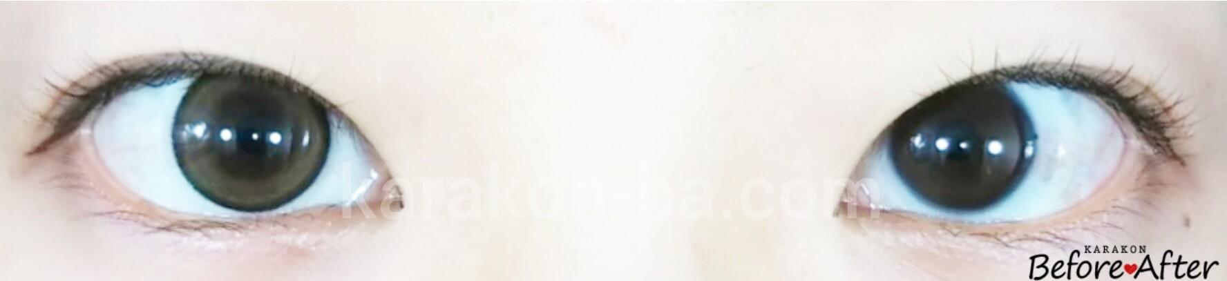 ライトブラウンのカラコン装着画像/裸眼と比較