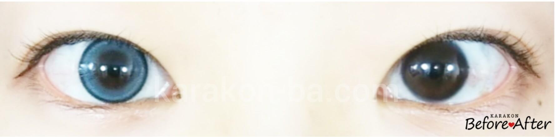 ライトアクアのカラコン装着画像/裸眼と比較
