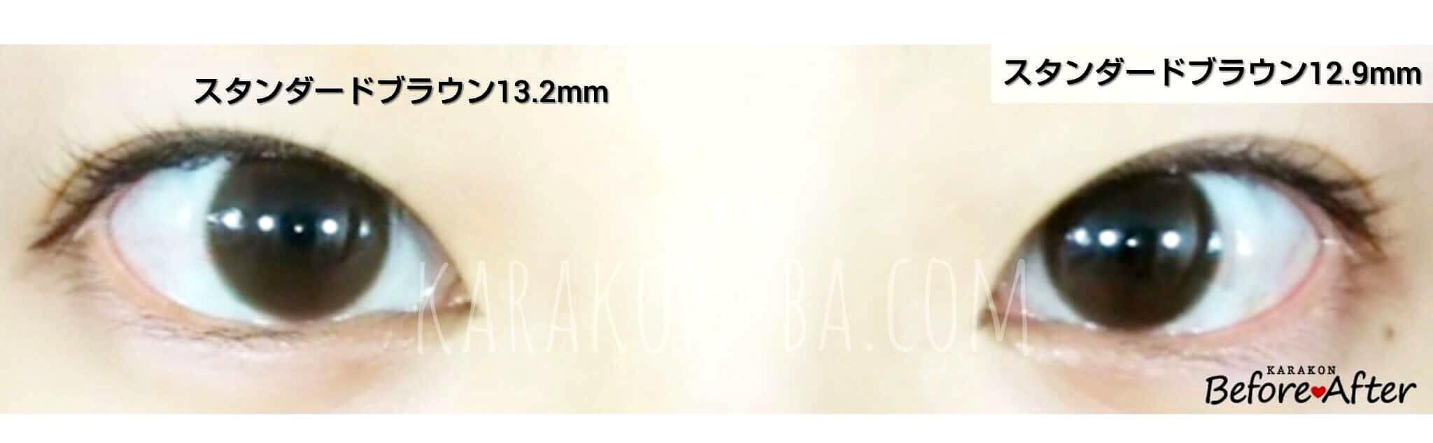 スタンダードブラウン13.2mmのカラコン装着画像