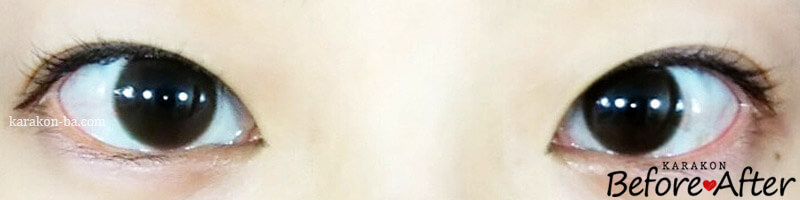 スタンダードブラウン13.2mmのカラコン装着画像/裸眼と比較